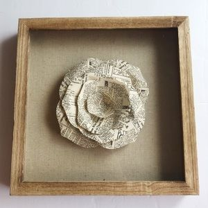 Newspaper / Book Page Flower In Frame - Wall Decor